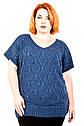 Жилет вязанный большого размера Бася (6 цветов), вязанная жилетка большого размера, жилеты для полных женщин, фото 6