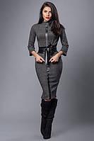 Стильный молодежный костюм с юбкой карандаш в клетку размеры 40,44 серая комби клетка