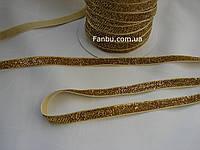 Тесьма бархатная(велюровая),блестящая с люрексом (ширина 1 см) цвет золотой