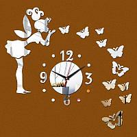 Креативные часы на стену №1 (Серебристые) 091