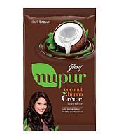 Крем-краска для волос Godrej Nupur на основе хны и кокосового масла (темно-коричневый) / 50 gr