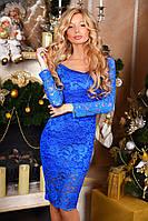 Великолепное кружевное женское платье миди прилегающего фасона с длинным рукавом микродайвинг