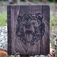"""Блокнот из дерева """"Медведь"""" - Bear, А6"""