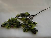 Ветка сосны --  бонсай искусственная с осветленными кончиками и шишками, 39 см
