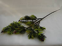 Ветка сосны --  бонсай искусственная с осветленными кончиками и шишками, 39 см, фото 1