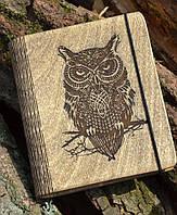 """Блокнот из дерева """"Сова"""" - Owl, А6"""