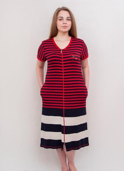 Женский халат летний увеличенного размера красно-черная полоска