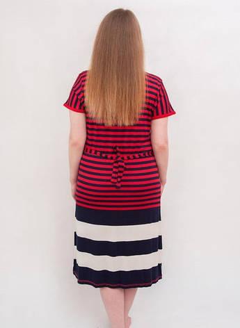 Женский халат летний увеличенного размера красно-черная полоска, фото 2