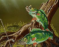 Схема для вышивки бисером Речная рыбалка, размер 25х20 см
