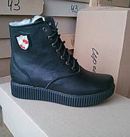 Женские кожаные зимние ботинки на низком ходу 36 -41 р-р, фото 1