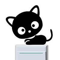 Наклейка на выключатель Котёнок чёрный 3D декор