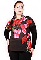 Футболка женская 606 роза д/рукав, кофточка большого размера, одежда для полных женщин,дропшиппинг