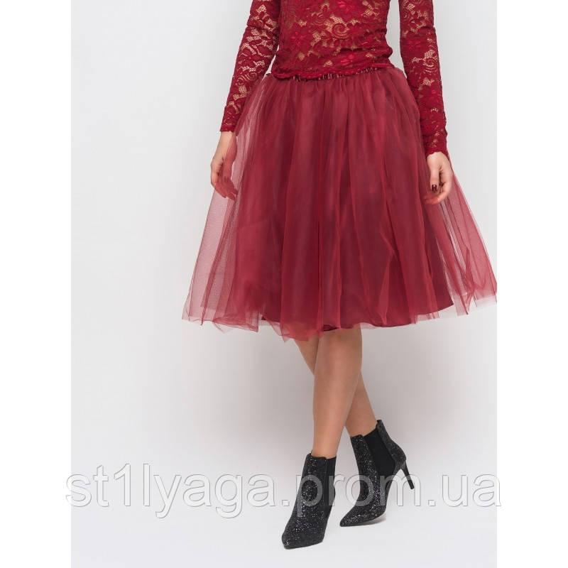 Пышная юбка из фатина в цвете бордо