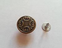 Джинсовая пуговица стальная № 3 - 17 мм антик