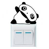 Наклейка на выключатель Панда лёжа 3D декор