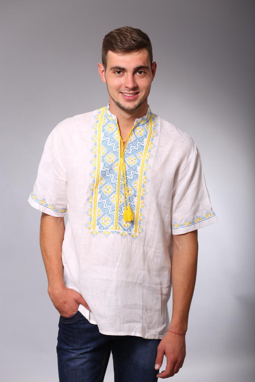 Лляна біла чоловіча вишиванка із патріотичною вишивкою