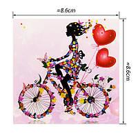 Наклейка на выключатель Цветочная фея на велосипеде 3D декор