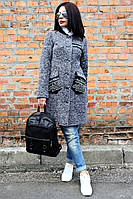 Женское демисезонное пальто Нашивка кожа меланж (2цвета), женское пальто демисезонное,  Размеры 42- 48