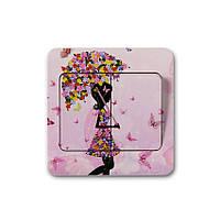 Наклейка на выключатель Цветочная фея с зонтиком 3D декор