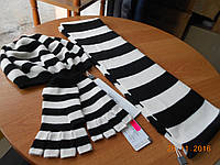 Комплект детский:  шапочка, шарфик, митенки в черно-белую полоску  Solar