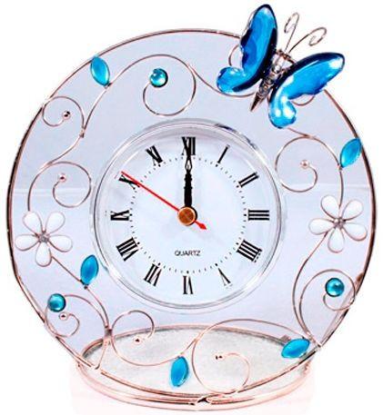 Красивые настольные часы Голубая бабочка Charme de femme 298-CK