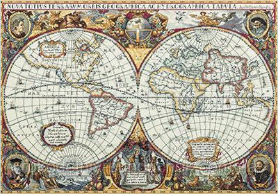 """Набор для вышивки крестом """"Panna"""" Географическая карта мира  ПЗ-1842"""