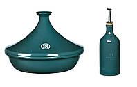 Таджин и бутылка для масла/уксуса Emile Henry синие