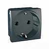 Механизм розетки 2Р+З с защ. шт. 16А 250В, 2 мод. Графит Schneider Electric Unica