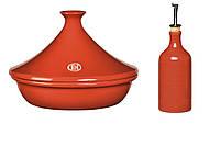 Таджин и бутылка для масла/уксуса Emile Henry кирпичные