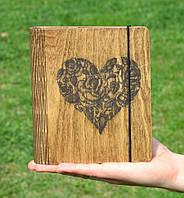 """Блокнот из дерева """"Серце"""" - Heart, А6"""