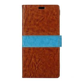 Чехол книжка для LG X5 боковой с отсеком для визиток, Горизонтальная полоска, Коричневый