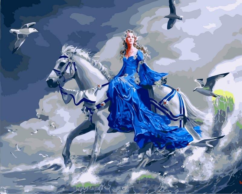 Раскраски по номерам 40×50 см. Девушка на лошади