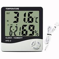LCD часы гигрометр термометр будильник HTC-2. Термометр с выносным датчиком, гигрометр, часы, будильник HTC-2, фото 1