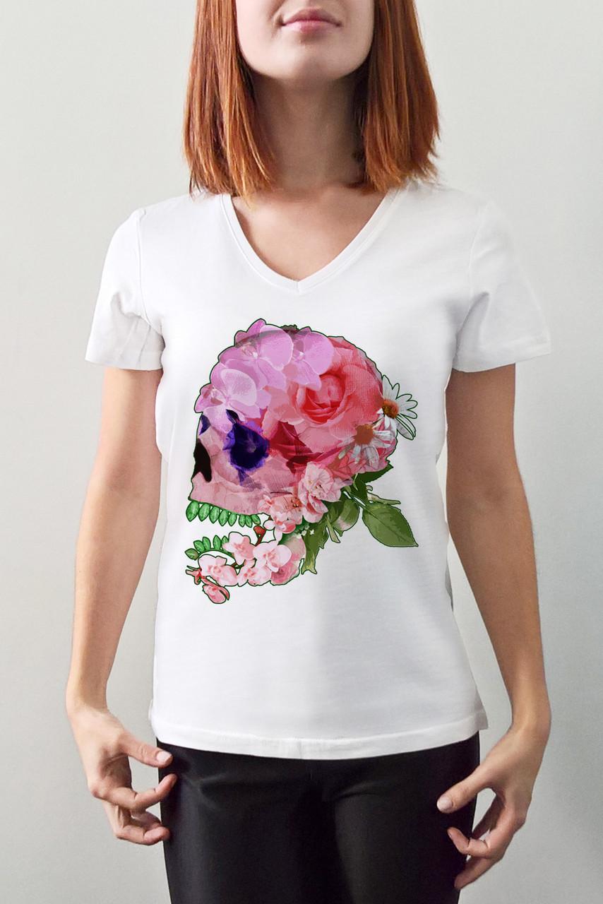 """Женская футболка """"Цветочный череп"""""""