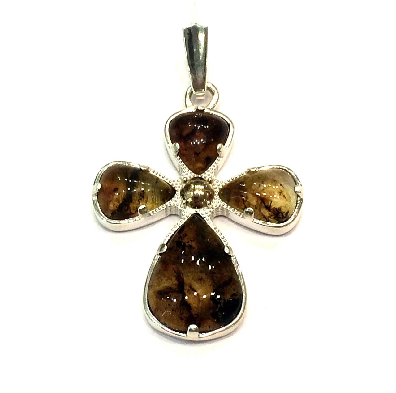 Серебряный декоративный крестик с янтарем