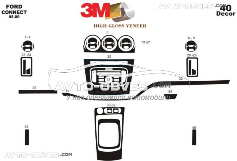 Тюнинг панели проборов (торпедо) Форд Коннект 2009-2014 из 40 элем (наклейки)