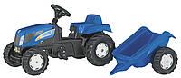 Трактор педальный  New Holland с прицепом Rolly Toys синий