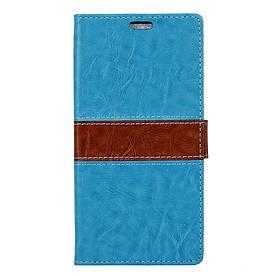 Чехол книжка для LG X5 боковой с отсеком для визиток, Горизонтальная полоска, голубой