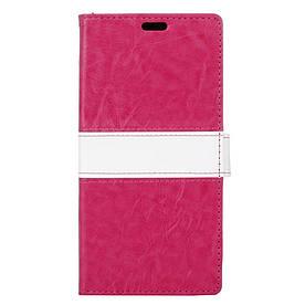 Чехол книжка для LG X5 боковой с отсеком для визиток, Горизонтальная полоска, малиновый