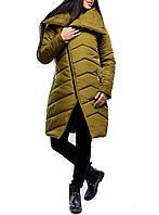 """Удлиненная зимняя куртка """"Оливковый Лаос"""" для модных девушек"""