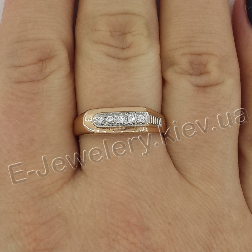 Серебряное мужское кольцо с позолотой «015»