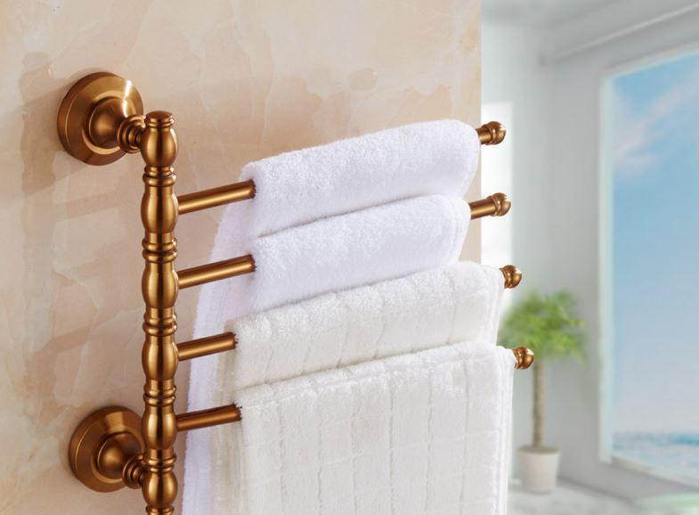 Вешалка для полотенец бронза настенная четырех уровневая на кухню или для ванной комнаты