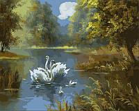 Картини по номерах 40×50 см. Лебединое семейство