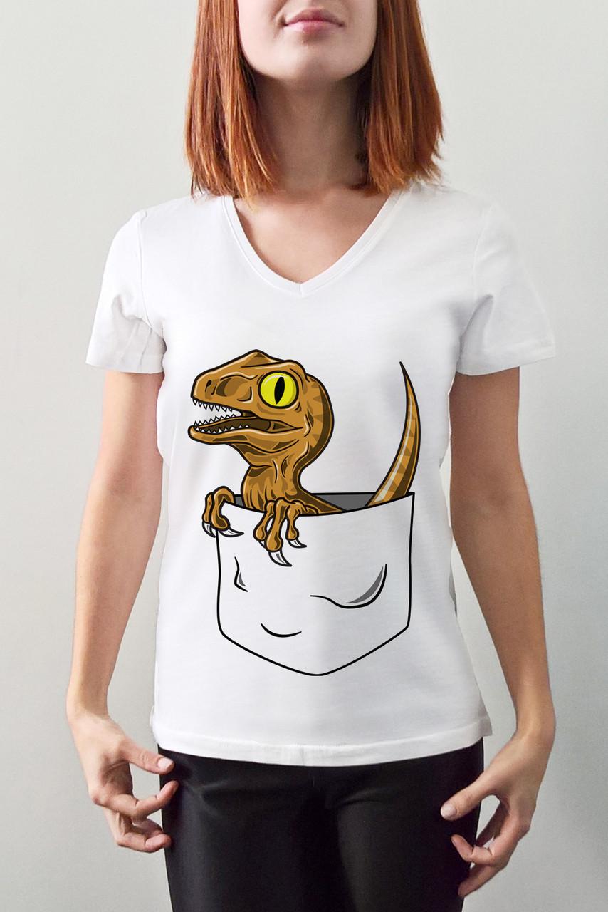"""Женская футболка """"Динозавр в кармане"""""""