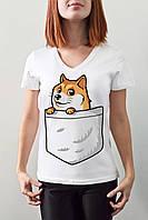 """Женская футболка """"Собачка в кармане"""""""