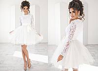 Шикарное вечернее  платье  пышное с фатиновой юбкой белое