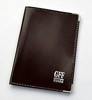"""Обложка на паспорт коричневая , кожаная. """"GFF"""""""
