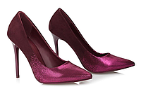 Туфли лодочки женские блестящий марсал 1122-24 D.FUSHIA, новогодняя обувь