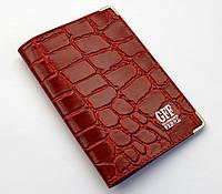 """Обложка для паспорта красная принт крокодила """"GFF"""""""