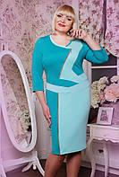 Платье женское батального размера Моргана бирюза, размер 50, 52, 54, 56, 58